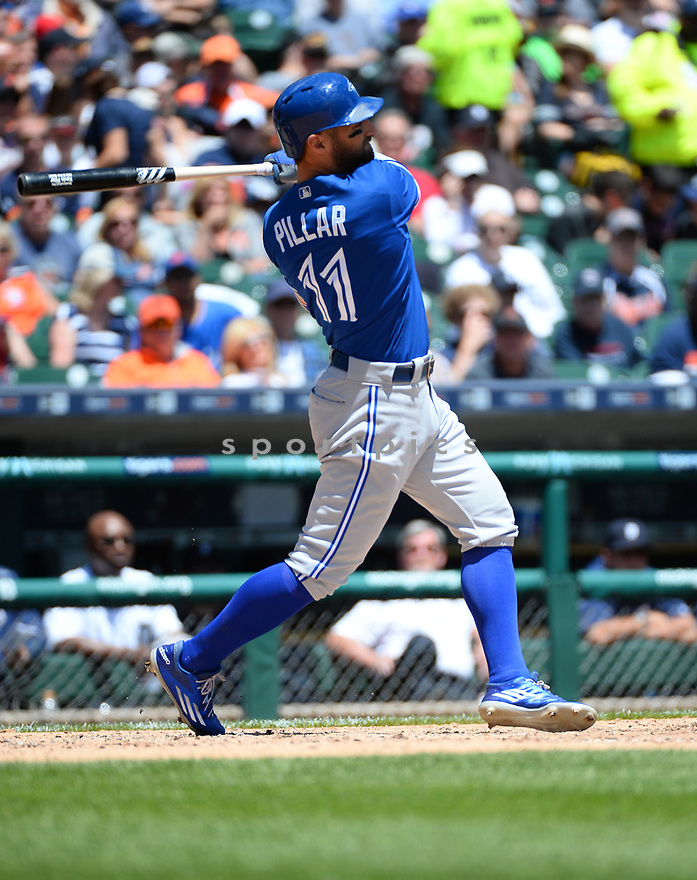 Toronto Blue Jays Kevin Pillar (11) during a game against the Detroit Tigers on June 8, 2016 at Comerica Park in Detroit MI. The Blue Jays beat the Tigers 7-2.