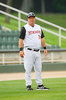 Kannapolis Intimidators manager Tommy Thompson (39) coaches third base during the South Atlantic League game against the Hagerstown Suns at CMC-Northeast Stadium on May 16, 2013 in Kannapolis, North Carolina.  The Suns defeated the Intimidators 10-7.   (Brian Westerholt/Four Seam Images)