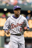 July 5, 2008: The Detroit Tigers' Curtis Granderson trots in from the outfield during a game against the Seattle Mariners at Safeco Field in Seattle, Washington.
