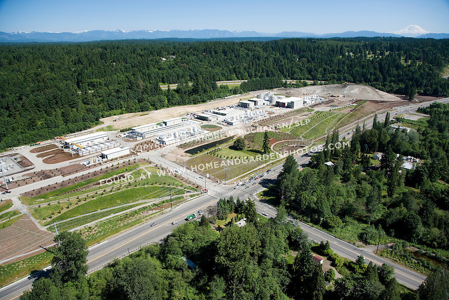 aerial view of Brightwater wastewater sewage treatement facility; Woodinville, WA; July, 2011