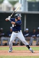 Milwaukee Brewers third baseman Taylor Brennan (17) during an Instructional League game against the Los Angeles Angels of Anaheim on October 9, 2014 at Tempe Diablo Stadium Complex in Tempe, Arizona.  (Mike Janes/Four Seam Images)
