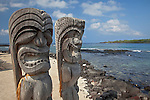 Two ki'i, or guardian statues of the Place of Refuge in the Pu`uhonua O H?naunau National Historic Park, The Big Island of Hawa'i, Hawai'i, USA
