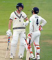 Joe Denly (L) and Heino Kuhn of Kent discuss strategy during day 2 of the Specsavers County Championship Div 2 game between Kent and Sussex at the St Lawrence Ground, Canterbury, on May 12, 2018