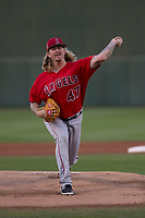 Los Angeles Angels starting pitcher John Lamb (47) during a Minor League Spring Training game against the Milwaukee Brewers at Tempe Diablo Stadium on March 29, 2018 in Tempe, Arizona. (Zachary Lucy/Four Seam Images)