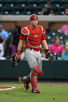 Palm Beach Cardinals catcher Carson Kelly (19) walks to the dugout during a game against the Lakeland Flying Tigers on April 13, 2015 at Joker Marchant Stadium in Lakeland, Florida.  Palm Beach defeated Lakeland 4-0.  (Mike Janes/Four Seam Images)