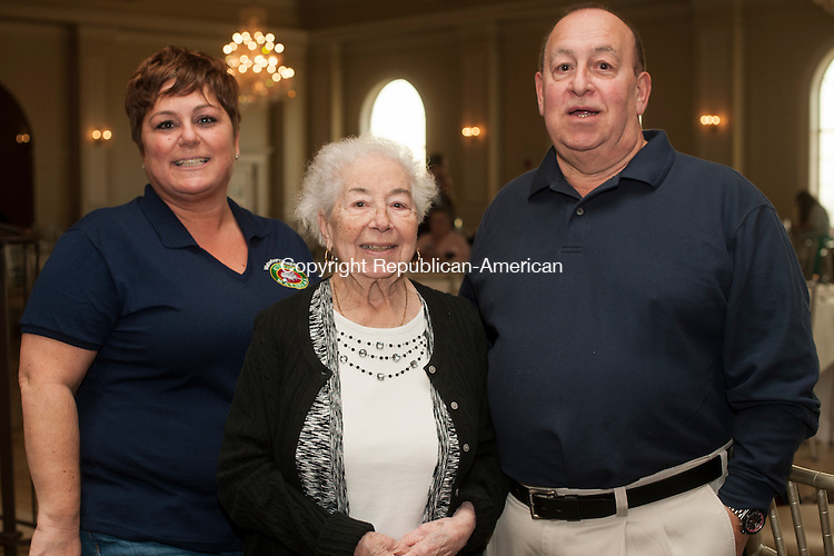 WATERBURY, CT- 10 March 2016-031016EC03-  Social Moments. The annual Waterbury UNICO Charlie Lanza Memorial Italian Corned Beef Dinner was held at Aria Banquet Facility in Prospect March 10. From L to R: Event Chair Francine Nido, Connie Lanza and Joe Lanza. Erin Covey Republican-American