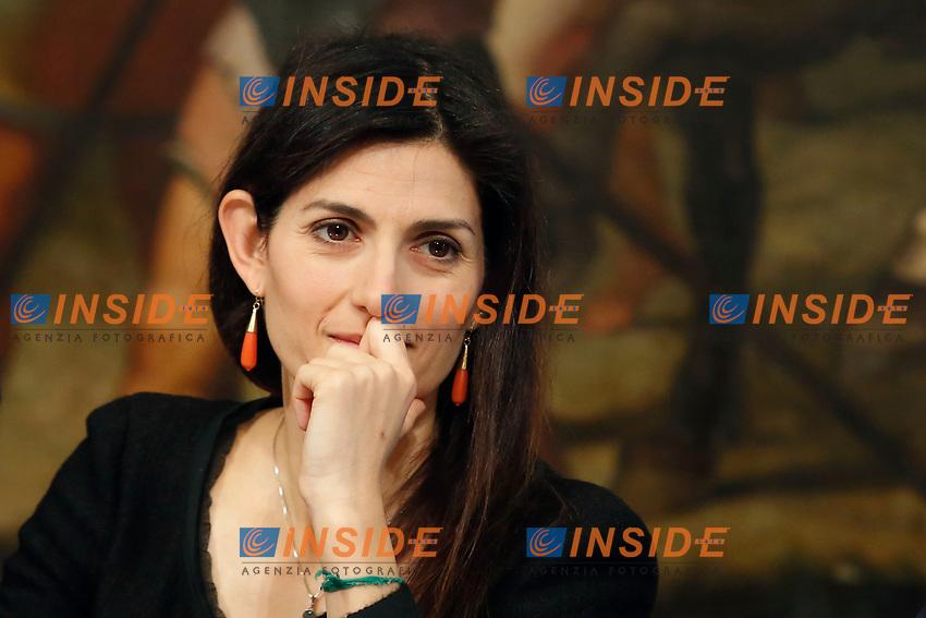 Mayor of Rome Virginia Raggi <br /> Rome April 11th 2019. Palazzo Chigi. Presentation of the 76° edition of International BNL of Italy tennis tournament.<br /> photo di Samantha Zucchi/Insidefoto