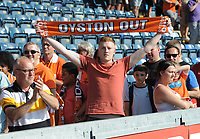 A Blackpool fan displays an 'Oyston Out' scarf<br /> <br /> Photographer Kevin Barnes/CameraSport<br /> <br /> The EFL Sky Bet League One - Wycombe Wanderers v Blackpool - Saturday 4th August 2018 - Adams Park - Wycombe<br /> <br /> World Copyright &copy; 2018 CameraSport. All rights reserved. 43 Linden Ave. Countesthorpe. Leicester. England. LE8 5PG - Tel: +44 (0) 116 277 4147 - admin@camerasport.com - www.camerasport.com