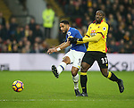 Watford's Stefano Okaka tussles with Everton's Ashley Williams during the Premier League match at Vicarage Road Stadium, London. Picture date December 10th, 2016 Pic David Klein/Sportimage