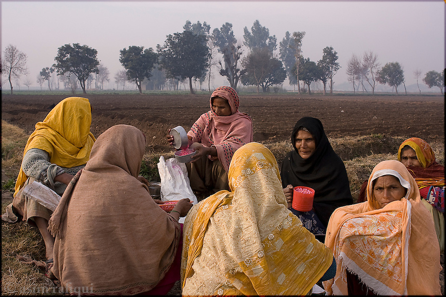Okara, Punjab, Pakistan. 2008. A group of women tenant farmers prepare to go out into the fields for the day's planting - most of the farmers in this area are landless peasants on tenant farming agreements with the Pakistan Army