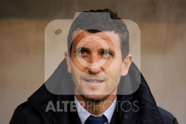 Malaga CF´s coach Javier Gracia Carlos during 2014-15 La Liga match between Rayo Vallecano and Malaga CF at Rayo Vallecano stadium in Madrid, Spain. March 21, 2015. (ALTERPHOTOS/Luis Fernandez)