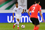 Akram Hassan Afif of Qatar in action during the AFC Asian Cup UAE 2019 Quarter Finals match between Qatar (QAT) and South Korea (KOR) at Zayed Sports City Stadium  on 25 January 2019 in Abu Dhabi, United Arab Emirates. Photo by Marcio Rodrigo Machado / Power Sport Images