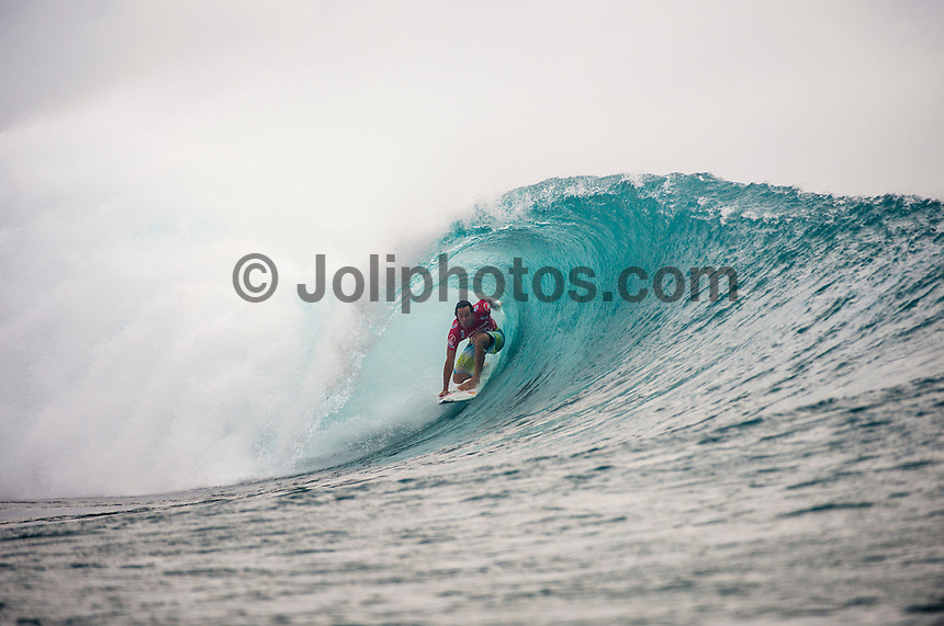 RESTAURANTS, Namotu Island/Fiji (Thursday, June 6, 2013) Jordy Smith (ZAF). - The Volcom Fiji Pro was called back on this morning at the secondary venue of Restaurants, with building four-to-six foot (1.5-2 metre) freight train barrels rifling down the reef at the world-class Fijian lefthander.<br /> <br /> Stop No. 4 of 10 on the ASP World Championship Tour (WCT), the Volcom Fiji Pro completed the first 10 heats of Round 1 in classic Cloudbreak conditions before diminishing swell forced a lay-day yesterday. A bigger swell has filled in overnight and event officials has scheduled the remainder of Round 1, Round 2 and the opening three heats of Round 3 heats. Kelly Slater (USA) and Joel Parkinson (AUS) won their respective heats today while John John Florence (HAW) lost his Round 1 heat, surfed and won his Round two heat with a 10 and a 9.8 point rides then had to surf a Round three he which he also won. Nat Young (USA) was another standout surfer today notching up 9 point rides in his heat. World number one Adriano de Souza (BRA)  was a shock loss along with last year's runner up Gabriel Medina (BRA).<br />  Photo: joliphotos.com