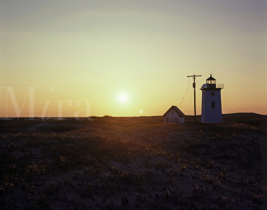 Lighthouse Sunset. Cape Cod Lighthouse and sunset.