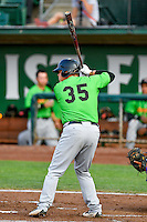 Corey Zangari (35) of the Great Falls Voyagers at bat against the Ogden Raptors in Pioneer League action at Lindquist Field on August 18, 2016 in Ogden, Utah. Ogden defeated Great Falls 10-6. (Stephen Smith/Four Seam Images)