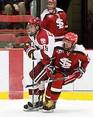 Alex Killorn (Harvard - 19), Matt Dyer (St. Lawrence - 20) - The Harvard University Crimson defeated the St. Lawrence University Saints 4-3 on senior night Saturday, February 26, 2011, at Bright Hockey Center in Cambridge, Massachusetts.