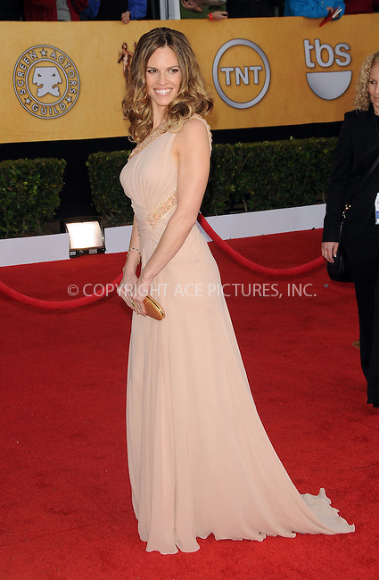 WWW.ACEPIXS.COM . . . . . ....January 30 2011, Los Angeles....Hilary Swank arriving at the 17th Annual Screen Actors Guild Awards held at The Shrine Auditorium on January 30, 2011 in Los Angeles, CA....Please byline: PETER WEST - ACEPIXS.COM....Ace Pictures, Inc:  ..(212) 243-8787 or (646) 679 0430..e-mail: picturedesk@acepixs.com..web: http://www.acepixs.com