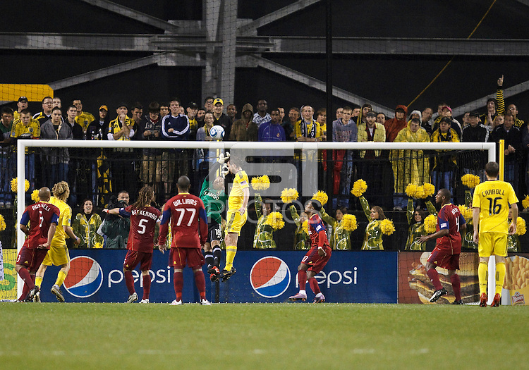 24 APRIL 2010:  Real Salt Lakes' Nick Rimando (18) punches the ball out during the Real Salt Lake at Columbus Crew MLS soccer game in Columbus, Ohio. Columbus Crew defeated RSL 1-0 on April 24, 2010.