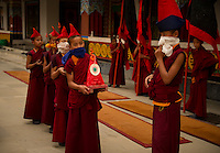 Young Buddhist monks waiting for the  the Losar New Year procession to begin at a monastery in the Himalayan foothills of Sikkim, India