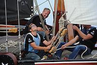 SKUTSJESILEN: HEEG: Hegemer Mar, 14-08-2012, IFKS skûtsjesilen, A-klasse, skûtsje De Jonge Jan, lierenman, fokkenist, voorhouder, ©foto Martin de Jong