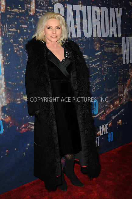 WWW.ACEPIXS.COM<br /> February 15, 2015 New York City<br /> <br /> Debbie Harry walks the red carpet at the SNL 40th Anniversary Special at 30 Rockefeller Plaza on February 15, 2015 in New York City.<br /> <br /> Please byline: Kristin Callahan/AcePictures<br /> <br /> ACEPIXS.COM<br /> <br /> Tel: (646) 769 0430<br /> e-mail: info@acepixs.com<br /> web: http://www.acepixs.com