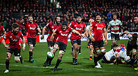 Matt Todd of the Crusaders kicks the ball into touch to bring the final whistle in the 2018 Super Rugby final between the Crusaders and Lions at AMI Stadium in Christchurch, New Zealand on Sunday, 29 July 2018. Photo: Joe Johnson / lintottphoto.co.nz