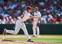 NWA Democrat-Gazette/CHARLIE KAIJO South Carolina pitcher Sawyer Bridges (23) throws a pitch during the second game of the NCAA super regional baseball, Sunday, June 10, 2018 at Baum Stadium in Fayetteville. Arkansas fell to South Carolina 5-8.