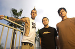 Geffen Records recording artists, Blink 182, pose for a portrait session in Carlsbad, CA, outside of their hometown of San Diego.  The band is preparing for the release of the new, self titled albu, due out on November 18, 2003.  The band members are Mark Hoppus, vocals/ bass; Tom Delonge, vocals/ guitar and Travis Barker, drums.