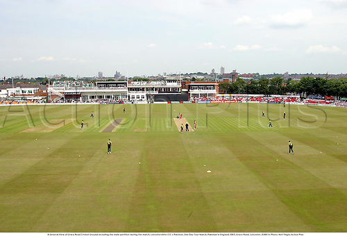 A General View of Grace Road Cricket Ground including the main pavillion during the match, Leicestershire CCC v Pakistan, One Day Tour Match, Pakistan in England 2003, Grace Road, Leicester, 030614. Photo: Neil Tingle/Action Plus...Cricket .cricketer cricketers.venue venues grounds..