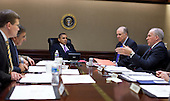 United States President Barack Obama is briefed by members of his national security team in the Situation Room of the White House, Friday, October 29, 2010.  .Mandatory Credit: Pete Souza - White House via CNP