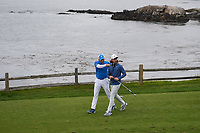 Sergio Garcia (ESP) and Tommy Fleetwood (ENG) have some fun as they head down 7 during round 2 of the 2019 US Open, Pebble Beach Golf Links, Monterrey, California, USA. 6/14/2019.<br /> Picture: Golffile | Ken Murray<br /> <br /> All photo usage must carry mandatory copyright credit (© Golffile | Ken Murray)