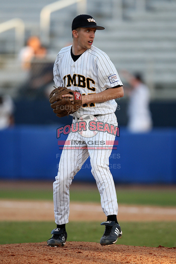 March 14, 2010:  Pitcher Samuel Bashioum of UMBC in a game vs. Bucknell at Chain of Lakes Stadium in Winter Haven, FL.  Photo By Mike Janes/Four Seam Images