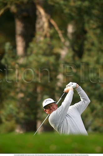 COLIN MONTGOMERIE (SCO) plays his shot, CISCO World Match Play Championship, West Course, Wentworth, Surrey, 021017. Photo: Glyn Kirk/Action Plus....2002.golf golfing golfer golfers
