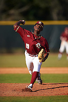Boston College Eagles relief pitcher Justin Dunn (19) during a game against the Indiana State Sycamores on February 27, 2016 at North Charlotte Regional Park in Port Charlotte, Florida.  Boston College defeated Indiana State 5-3.  (Mike Janes/Four Seam Images)