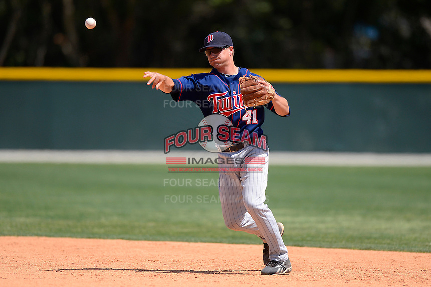 Minnesota Twins infielder Andy Leer #41 during a minor league Spring Training game against the Baltimore Orioles at Buck O'Neil Complex on March 26, 2013 in Sarasota, Florida.  (Mike Janes/Four Seam Images)