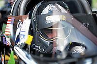 Jun. 16, 2012; Bristol, TN, USA: NHRA top fuel dragster driver Dom Lagana during qualifying for the Thunder Valley Nationals at Bristol Dragway. Mandatory Credit: Mark J. Rebilas-