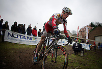 Kevin Pauwels (BEL/Sunweb-Napoleon Games) on the slippery descent<br /> <br /> Druivencross Overijse 2014