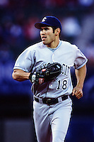 Johnny Damon of the Kansas City Royals during a game against the Anaheim Angels at Angel Stadium circa 1999 in Anaheim, California. (Larry Goren/Four Seam Images)