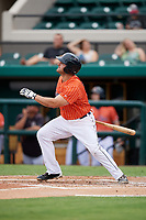 Lakeland Flying Tigers designated hitter Wade Hinkle (46) follows through on a swing during the second game of a doubleheader against the St. Lucie Mets on June 10, 2017 at Joker Marchant Stadium in Lakeland, Florida.  Lakeland defeated St. Lucie 9-1.  (Mike Janes/Four Seam Images)