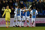 Leganes Mitchell Langerak goal celebration vs Villarreal during Copa del Rey match. 20180104.