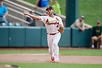 Springfield Cardinals third baseman Jacob Wilson (4) throws to first base during a game against the San Antonio Missions on June 4, 2017 at Hammons Field in Springfield, Missouri.  San Antonio defeated Springfield 6-1.  (Mike Janes/Four Seam Images)