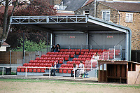 The main stand at Clapton FC Football Ground, Old Spotted Dog, Upton Park, London, pictured on 30th March 1996