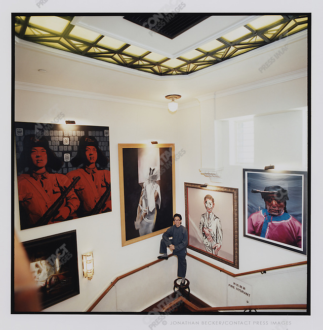 Curator and gallery owner Johnson Chang in the stairwell of the China Club, Hong Kong, China, 2007