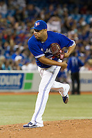 Toronto Blue Jays pitcher Francisco Cordero #48 delivers a pitch during an American League game against the Boston Red Sox at Rogers Centre on June 3, 2012 in Toronto, Ontario.  (Mike Janes/Four Seam Images)