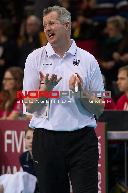 05.01.2014, MHP Arena, Ludwigsburg<br /> Volleyball, Qualifikation WM 2014, Deutschland vs. T&uuml;rkei / Tuerkei<br /> <br /> Vital Heynen (Bundestrainer / Trainer GER)<br /> <br />   Foto &copy; nordphoto / Kurth