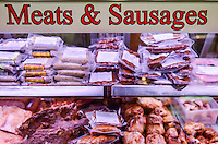 Butcher store meat display.