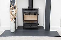 Wednesday 08 February 2017<br />Pictured: Livingroom fireplace<br />Re: Huw and Kelly have moved into a new Waterstone House near Swansea, South Wales.
