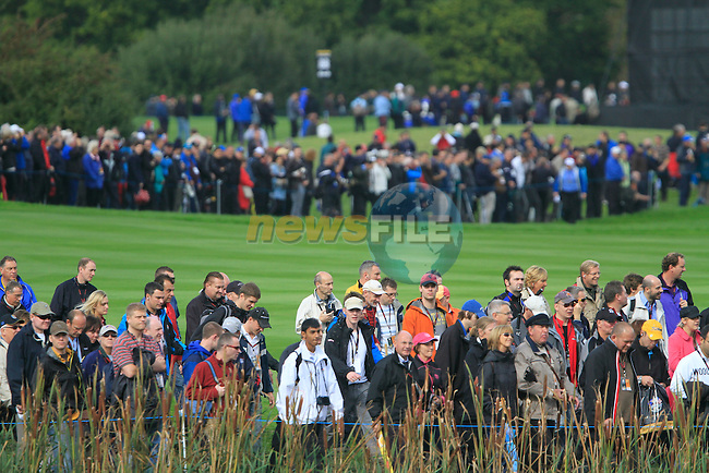 Some of the huge galleries attending the Day 2 Foursomes Matches during Day 2 of the The 2010 Ryder Cup at the Celtic Manor, Newport, Wales, 2nd October 2010..(Picture Eoin Clarke/www.golffile.ie)