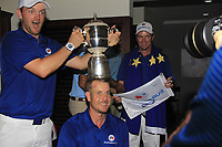 Bernd Wiesberger and Henrik Stenson with the Eurasia Cup after Team Europe overcame Asia 14/10 at Glenmarie Golf and Country Club on the Sunday 14th January 2018.<br /> Picture:  Thos Caffrey / www.golffile.ie