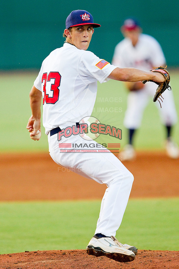Hunter Virant #33 of the USA 18u National Team in action against the USA Baseball Collegiate National Team at the USA Baseball National Training Center on July 2, 2011 in Cary, North Carolina.  The College National Team defeated the 18u team 8-1.  Brian Westerholt / Four Seam Images